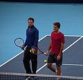 Roger Federer and Severin Lüthi - Basel Swiss Indoors 2014 - DSC8598.jpg
