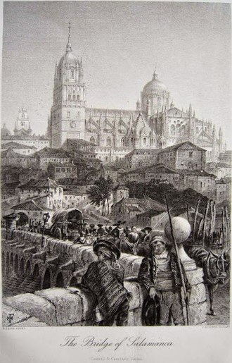 Roman bridge of Salamanca - Painting of Roman bridge of Salamanca by Harry Fenn and J. Godfrey in 1860, in the work Picturesque Europe.