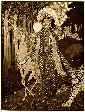 """Sidney Sime - Romance Comes Down Out of Hilly Woodlands, illustration for """"Poltarnees, Beholder of Ocean"""" in Lord Dunsany's A Dreamer's Tales"""