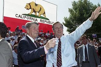 1992 United States presidential election in California - Ronald Reagan and George H. W. Bush campaigning in California