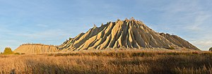 Soil erosion - A spoil tip covered in rills and gullies due to erosion processes caused by rainfall: Rummu, Estonia