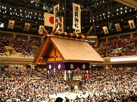 The sumo hall of Ryōgoku in Tokyo during the May, 2006 tournament