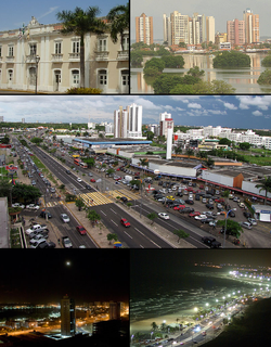 Above, from left to right: City of São Luís and the Laguna Jansen; In the middle: Avenida Colares Moreira; Below, from left to right: Entrance to the Coastal Highway and the Coastal Highway at night.