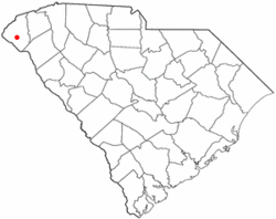 Location of Westminster, South Carolina
