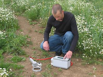 Soil - Measuring soil respiration in the field using an SRS2000 system.