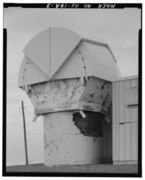 STEEL CLAM SHELL PROTECTED RADAR ATTACHED. - Nike Hercules Missile Battery Summit Site, Battery Control Administration and Barracks Building, Anchorage, Anchorage, AK HAER AK,2-ANCH,24A-3