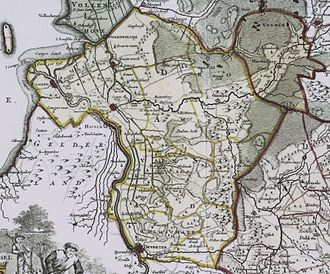 Salland - Salland in 1757 (the area with yellow borders; Hardenberg in the north-east is shown as a separate region)