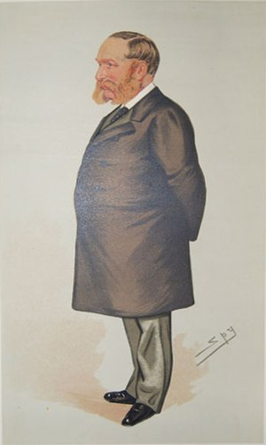 "Samuel Wilson (Portsmouth MP) - ""a squatter"" Wilson as caricatured by Spy (Leslie Ward) in Vanity Fair, January 1885"
