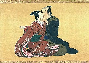 Homosexuality in Japan - Man and youth, Miyagawa Isshō, ca. 1750; Panel from a series of ten on a shunga-style painted hand scroll (kakemono-e); sumi, color and gofun on silk. Private collection. Note that the youth on the left is wearing a kimono whose style (furisode) and color was considered appropriate for adolescents of both sexes but not adult men, which along with the partially shaved pate denotes the boy's wakashū age status while the exposed bare feet indicates the purely sexual demeanor.
