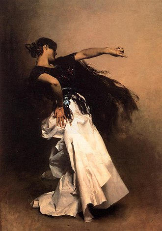 El Jaleo - Spanish Dancer, 1879-82. A preparatory oil study for the main figure in El Jaleo.  Private collection.