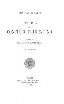 Paolo Sarpi, Istoria del Concilio tridentino, 1935