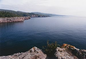 Sawtooth Mountains (Minnesota) - Sawtooth Mountains and Lake Superior shore looking east-northeast from Palisade Head.