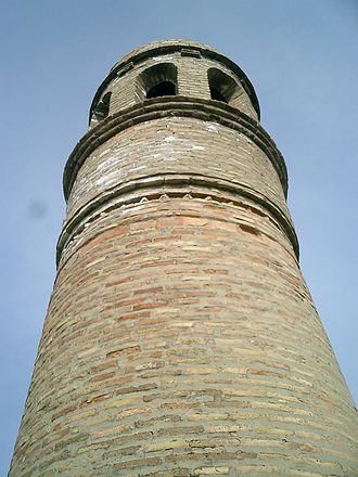 Sayram (city) - Minaret to the Kydyr mosque, 10th century. Roughly 45 feet (15 meters) tall.
