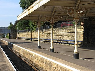 Scarborough railway station - The long seat on Platform 1 previously covered by a roof.