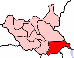 2006–08 Juba talks - Owiny Ki-Bul is in East Equatoria (in red) bordering Uganda to the south, Kenya to the southeast and Ethiopia to the east.