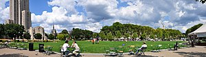Schenley Plaza - View from the southwest corner of Schenley Plaza. The University of Pittsburgh's Cathedral of Learning, Stephen Foster Memorial, and Heinz Chapel can be seen on the left. Across the plaza, behind the trees, is the Carnegie Institute and Library complex.