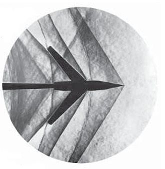 Shock wave - Schlieren photograph of an attached shock on a sharp-nosed supersonic body