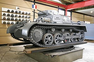 "Balkenkreuz - Panzer I tank in a museum, with Polish-campaign ""white cross"" German insignia"
