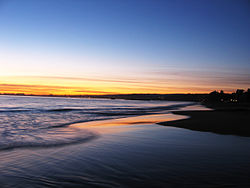 Sunset at Seacliff State Beach in Aptos, California.