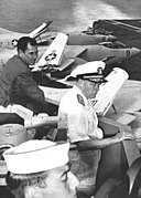 SecDef Thomas S. Gates and VADM C.R. Brown on USS Saratoga (CVA-60) in 1958.jpg