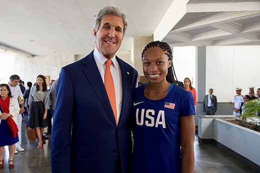Secretary Kerry Poses for a photo with Olympic gold medalist and track star Allyson Felix in Rio de Janeiro (28787759835).jpg