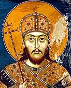 Fresco by Stefan Uroš IV. Dušan in the monastery of Sveti Arhanđeli