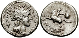 Denarius - Helmeted head of Rome