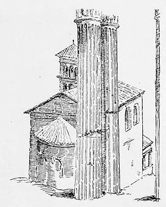 Santi Sergio e Bacco - The cardinal deaconry in the Roman Forum. The foreground columns are of the Temple of Vespasian. Drawing by Maarten van Heemskerck (about 1536) from Rodolfo Amedeo Lanciani The ruins and excavations of ancient Rome: a companion book for students and travelers (1897).