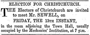 Town of Christchurch by-election, 1860 - Advertisement by Sewell inviting electors to a meeting
