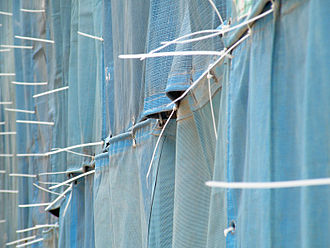Cable tie - Cable ties used to attach shade cloth to scaffolding at a construction site in Singapore