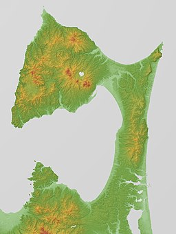 Shimokita Peninsula Relief Map, SRTM-1.jpg