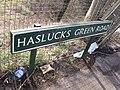 Shirley Station, Haslucks Green Road, Shirley - road sign (7006219833).jpg