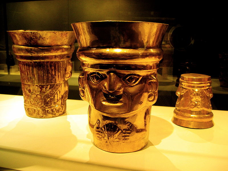 9th to 11th century Sican beaker gold cups from Lambayeque, Peru. Now in the Metropolitan Museum.