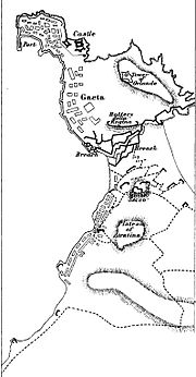 Black ink on white paper map of the siege of Gaeta