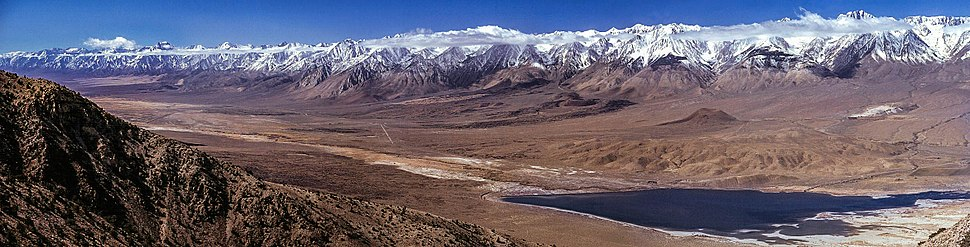 Sierra Escarpment viewed from the east. In the foreground is Tinemaha Reservoir in the Owens Valley.