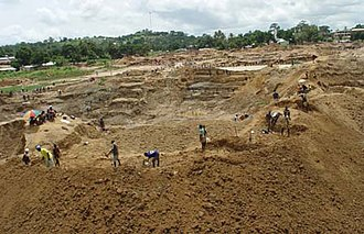 Economy of Sierra Leone - A diamond Mine in Kono District.