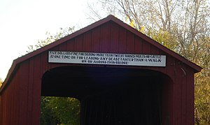 Red Covered Bridge (Illinois) - Sign on Red Covered Bridge