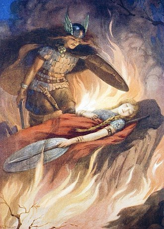 Nibelungenlied - Sigurd and Brunhild – Illustration by Harry George Theaker for Children's Stories from the Northern Legends by M. Dorothy Belgrave and Hilda Hart, 1920