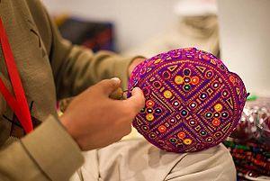 Sindhi cap - Ajrak detail on Handmade Sindhi Cap