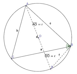 Law of sines - Deriving the ratio of the sine law equal to the circumscribing diameter. Note that triangle ADB passes through the center of the circumscribing circle.