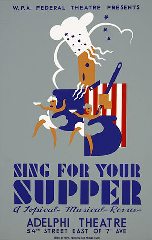 Adelphi Theatre (New York City) - Poster by Aida McKenzie for Federal Theatre Project presentation of Sing for Your Supper at the Adelphi Theatre. (between 1936 and 1939)