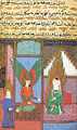 Siyer-i Nebi - Gabriel -dschabrail- erscheint im Haus des Propheten Muhammad, links Chadidscha.jpg