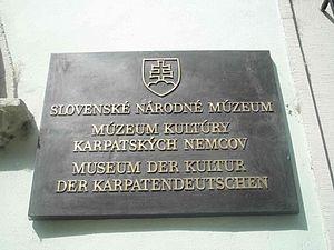 Carpathian Germans - Plate on the Hungarian and German museum in Bratislava
