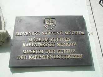 Carpathian Germans - Plate on the Hungarian and German museum in Bratislava