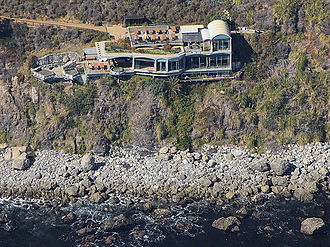 Esalen Institute - View of the building on the bluff housing the hot springs