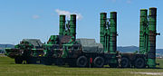 Three S-300PMU missile launchers in firing position. Displayed by the Slovak military in Piešťany.