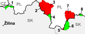 Polish–Czechoslovak border conflicts - Territorial changes on the (Czecho)Slovak-Polish border between 1902–1945 (red parts – to Austrian Galicia/Poland; green parts – to Czechoslovakia/Slovakia)