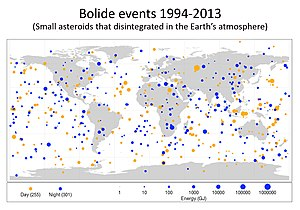 Bolide - A bolide – a very bright meteor of an apparent magnitude of −14 or brighter