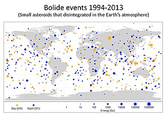 Asteroid impact avoidance - Image: Small Asteroid Impacts Frequency Bolide 20141114