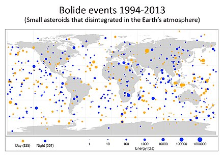 World map of large meteoric events (also see Fireball below) [2] - Meteoroid